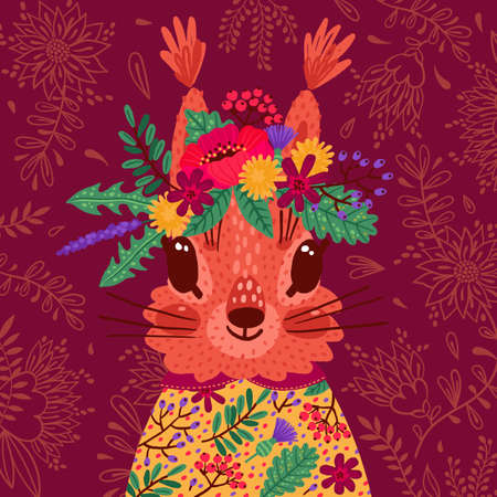 Hand drawn vector illustration with a cute squirrel in a flower wreath, for children s prints, greetings, posters, t-shirt, packaging, invites. Funny cartoon animal