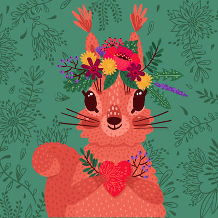Cute red squirrel in a flower wreath holds a heart in its paws. Vector illustration in cartoon style. Declaration of love and greeting card 向量圖像