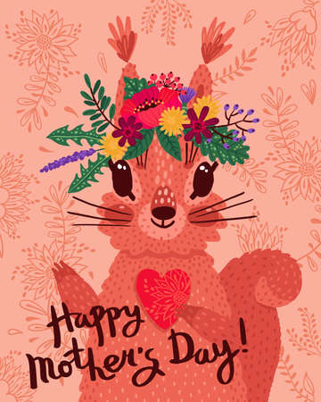 Beautiful Happy Mothers Day card with a squirrel, flowers and a heart. Vector illustration for postcards