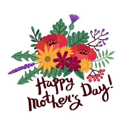 Mothers day background with hand written text Happy Mothers Day and a bouquet of flowers and leaves. Vector illustration