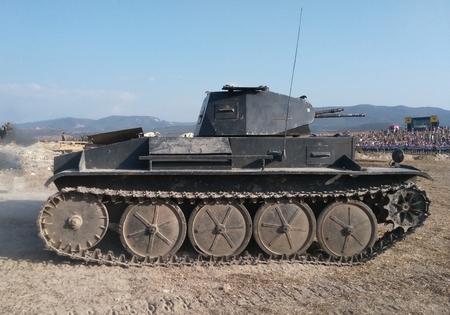 Real german tank. Fixed tank. German tank from real war Stock Photo