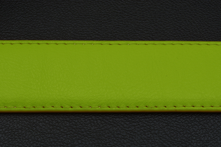 center position: Green stripe on black background. Belt from skin or leather. Belt with green color. Center position on background. Place for your text