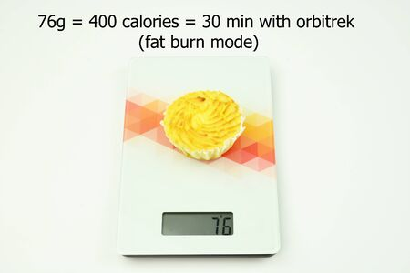 weigher: Cake on weigher. How many calories on cake. 30 minutes to fat burn o orbitrek