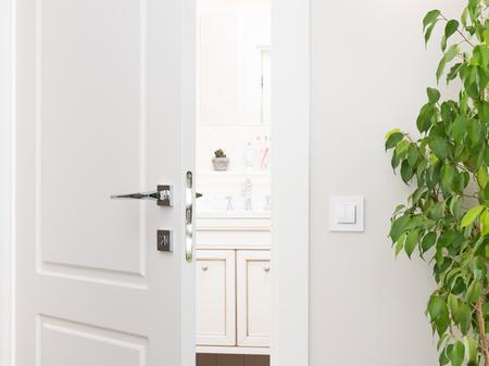 Ajar porta bianca al bagno. Le serie si accendono su un muro grigio chiaro. Maniglia e serratura moderne cromate. Pianta d'appartamento verde Archivio Fotografico - 89972398