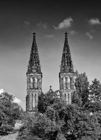 Sights Of Prague. Black-and-white photograph of an ancient temple. The two towers against the dark sky Stock Photo