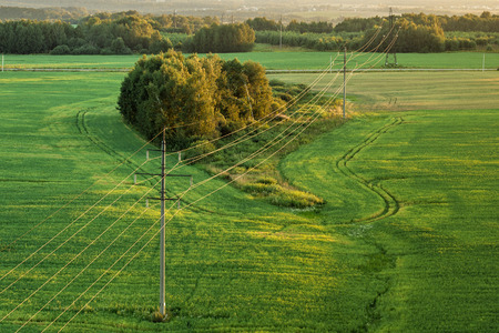 Transmission of electricity on the ground. Power lines in the field Reklamní fotografie