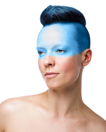 Conceptual makeup. Beauty woman portrait isolated on white background. Short blue hair, unused hairstyle