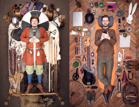 Ancient Viking and modern hipster. A lot of stuff everyday use. Stylish in appearance. Life and death. Two images for comparison