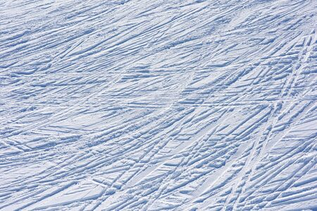 Lots of ski tracks in the fresh snow. Winter sports background