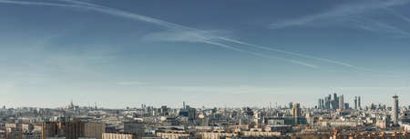 Panorama of the city of Moscow from a height of march 2021. Large metropolis. Reklamní fotografie