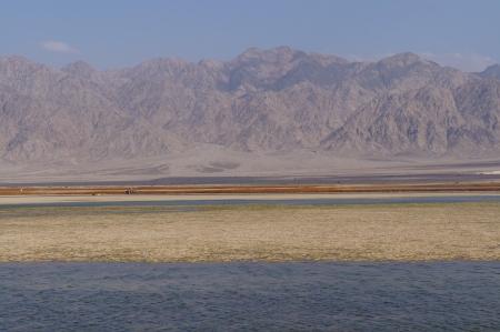desalination: Salt lake near Eilat, Israel Stock Photo