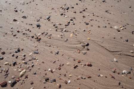 Background of wet sand and small stones photo
