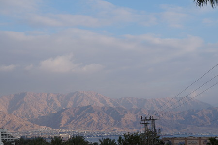 View to the Eilat gulf and Aqaba from wadi Shahamon, Eilat, Israel