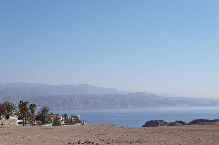 eilat: View to the Eilat gulf and Aqaba from wadi Shahamon, Eilat, Israel