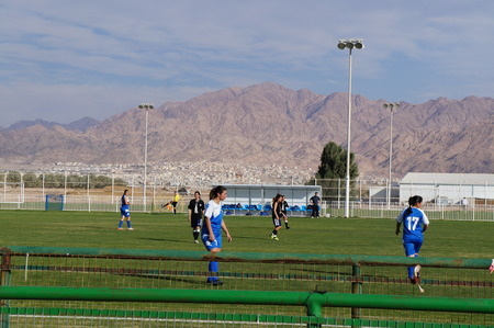 eilat: Female soccer game in Eilat, Israel