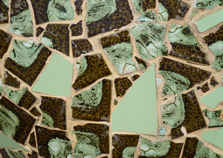 Brown and green tiles mosaic photo