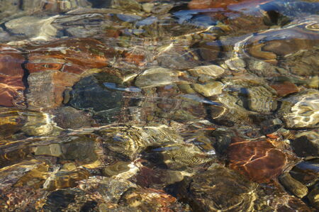 Clear sea water and stones on the floor, low-tide time photo