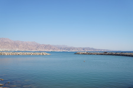 View to Eilat gulf and Aqaba from Eilat, Israel photo