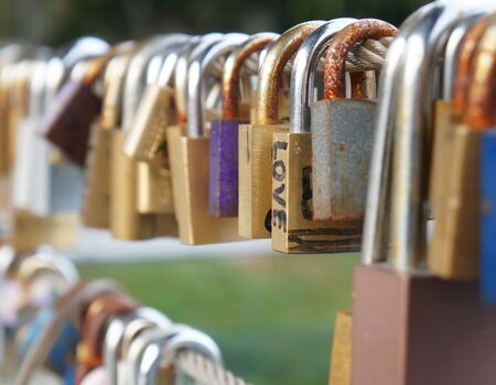 keylock: Love padlocks at a bridge in Ljubljana