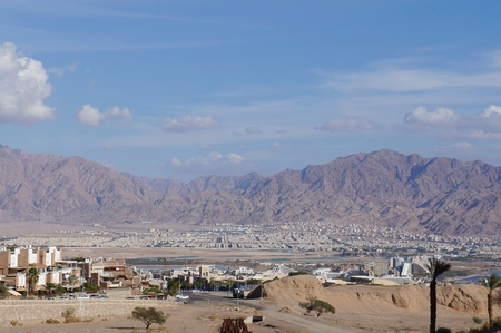 View to the Eilat gulf and Aqaba from wadi Shahamon, Eilat, Israel photo