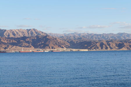 View to Aqaba, Joradn from Eilat gulf, Israel photo
