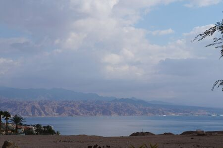 View to Eilat Gulf and Aqaba from wadi Shahamon, Eilat, Israe photo