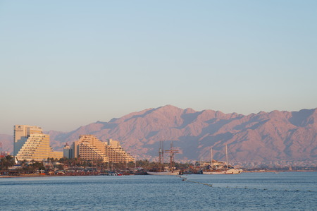 Sunset upon the Red sea and hotels, Eilat gulf