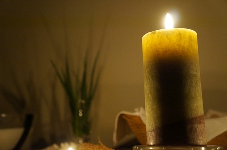 paganism: Candles on the altar, selective focus on candle, candlelight time