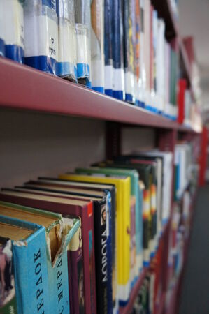 dof: Books in library background, shallow dof