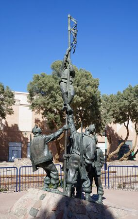 erection: Historical site Umm Rashrash in Eilat, Israel. Monument of famous Ink Flag erection on March 22, 2015 in Eilat, Israel