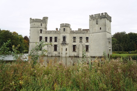 Ruined castle in the Meise Botanic garden in Belgium Stock Photo