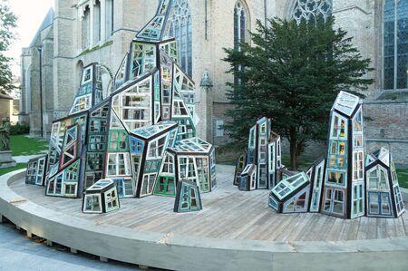 bruges: Modern statue made of windows, Bruges, Belgium