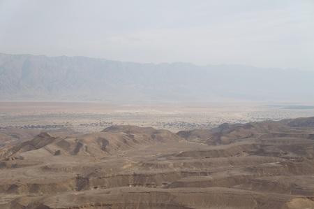 arava: Maale Shaharut, beautiful place in the Arava desert, Israel, in the misty haze of sunset