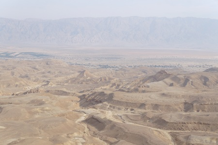 canyon negev: Maale Shaharut, beautiful place in the Arava desert, Israel, in the misty haze of sunset