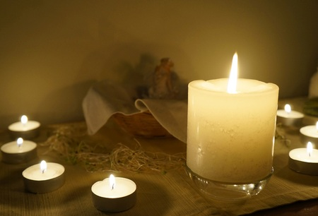 witchery: Candles on altar, selective focus on the candle