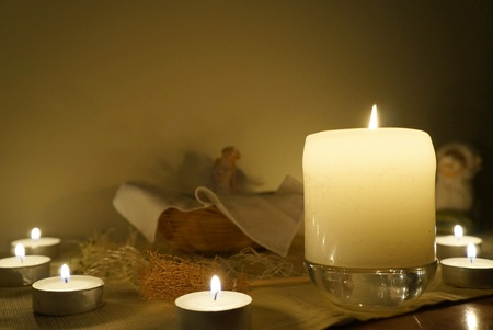 wiccan: Candles on altar, selective focus on the candle, night candlelight time