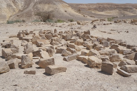 judean hills: Moa fortress, ancient ruined building in South Israel Stock Photo