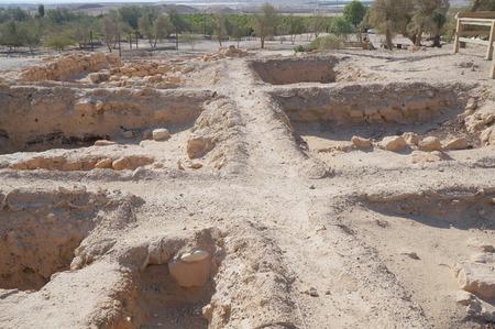Biblical Tamar park, Arava, South Israel. Ruins of Greek-Roman period houses Stock Photo