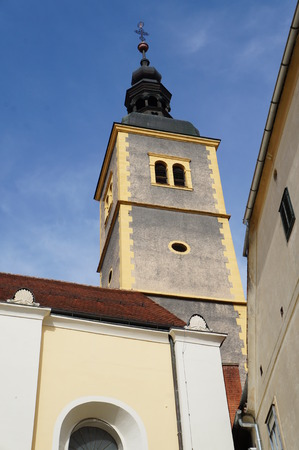The tower of Cathedral of the Franciscan Church of st. John the Baptist . The early Baroque 17th century church, Varazdin, Croatia Stock Photo