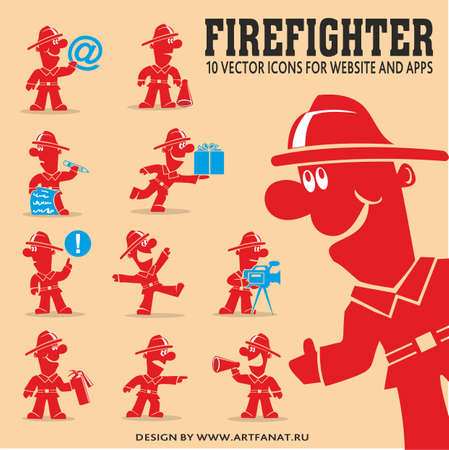 Firefighter vector illustration