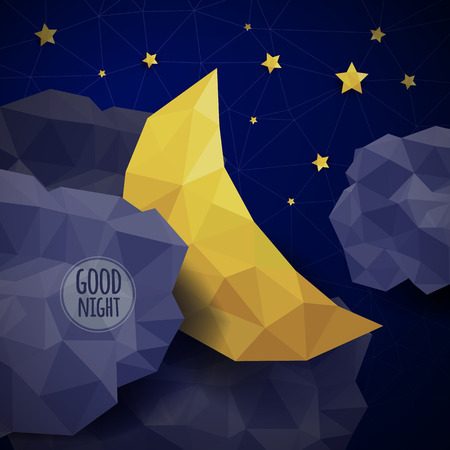 good night: triangle background with clouds, the new moon and the