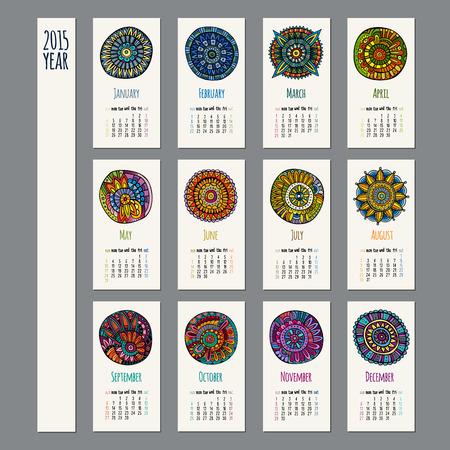 Ethnic calendar 2015 year design, English, Sunday start Vector