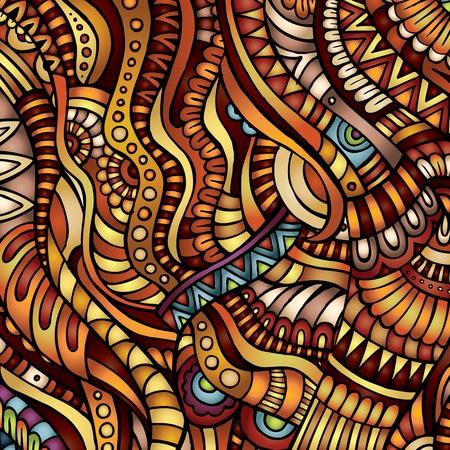 batik pattern: Decorative orange ornamental ethnic vector pattern background