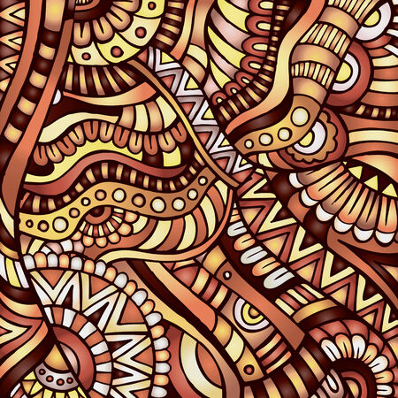 Decorative orange ornamental ethnic vector pattern background Vector