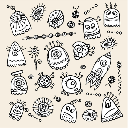 Vector cartoon aliens and monsters hand drawn set Vector