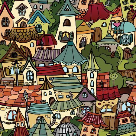 Cartoon vector fairy tale drawing town. seamless pattern