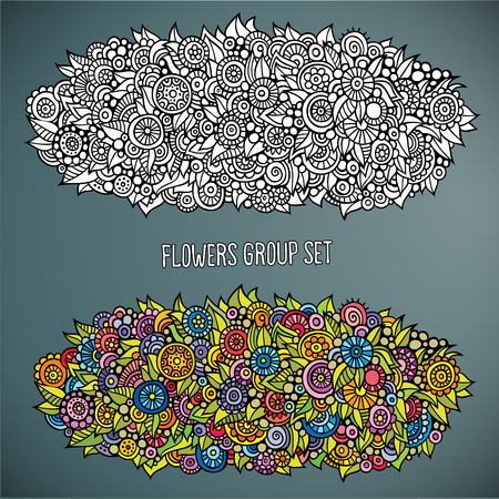 Vector abstract drawing flowers group set in different of color Vector