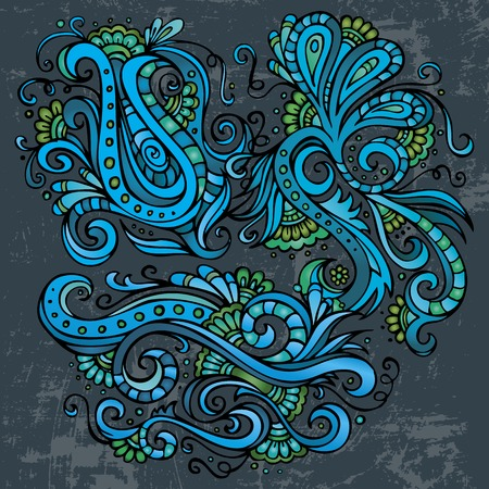 Abstract decorative hand drawn neon floral elements set Vector