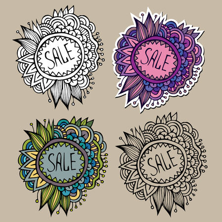 Set of vintage hand drawn nature floral vector labels from your messages Vector