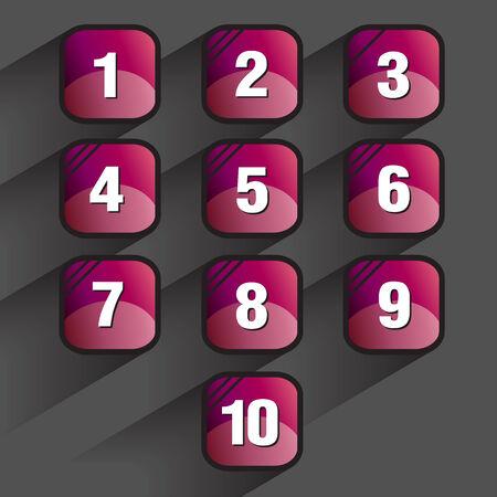 teclado numérico: Conjunto de botones cuadrados con los números, ilustración vectorial Vectores